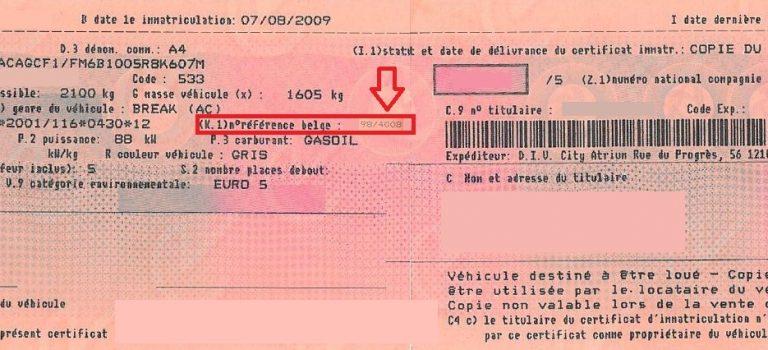 Numeros immatriculation voiture