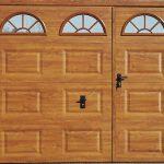 Porte de garage basculante bois avec portillon